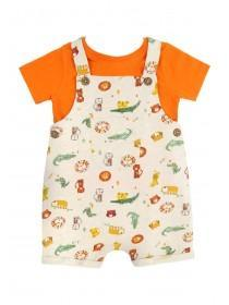 Baby Boys Orange Animal Dungaree Set