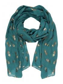 Womens Teal Pineapple Foil Scarf