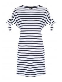 Womens Blue Striped Tie Dress