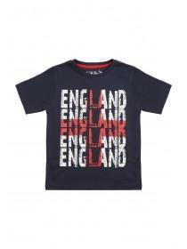 Younger Boys Navy England Slogan T-Shirt
