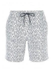 Mens Grey Aztec Print Sweat Shorts