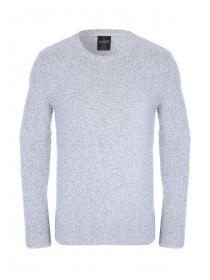 Mens Grey Ribbed Knit Jumper