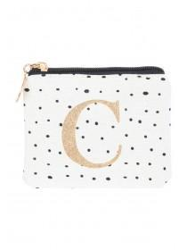 Womens White C Initial Coin Purse