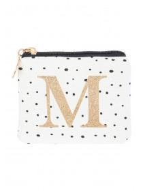 Womens White M Initial Coin Purse