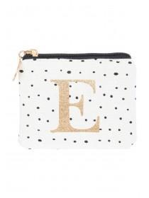 Womens White E Initial Coin Purse