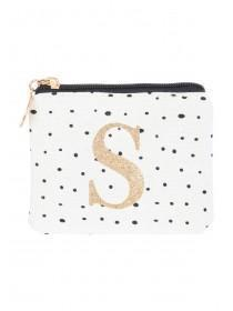 Womens White S Initial Coin Purse