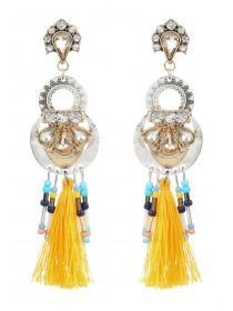 Womens Yellow Tassel Gem Earrings