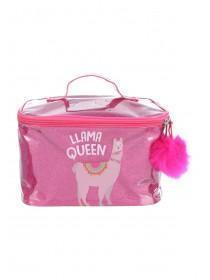 Womens Pink Llama Vanity Case