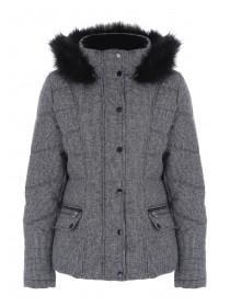Womens Grey Check Padded Coat
