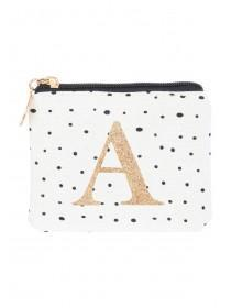 Womens White A Initial Coin Purse