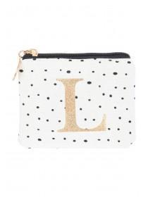 Womens White L Initial Coin Purse