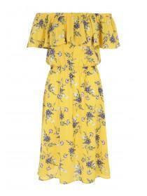Womens Yellow Floral Bardot Dress