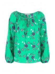 Womens Green Floral Blouse