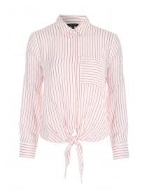 Womens Red Stripe Tie Front Shirt