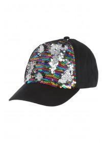 Older Girls Black Flip Sequin Baseball Hat