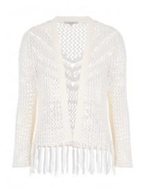 Womens Cream Crochet Cardigan
