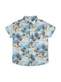 Older Boys Aqua Hawaiian Print Shirt