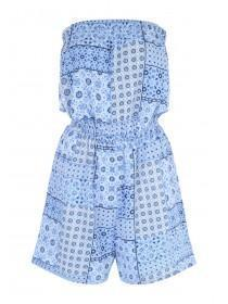 Womens Tile Print Strapless Playsuit