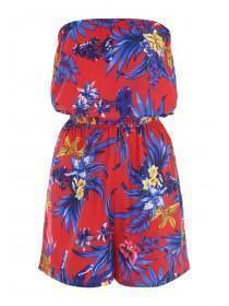 Womens Red Floral Strapless Playsuit