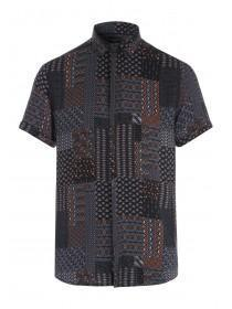 Mens Black Aztec Print Short Sleeve Shirt