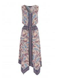 Womens Multicolour Paisley Hanky Hem Dress