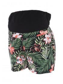 Maternity Black Tropical Over The Bump Shorts
