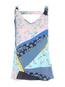 Womens Blue Patchwork Vest Top