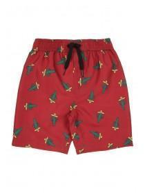 Younger Boys Red Cactus Print Swimshorts