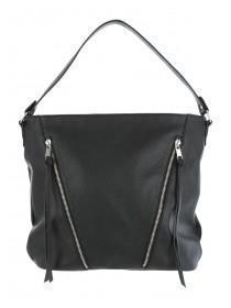 Womens Black Slouchy Zip Shoulder Bag