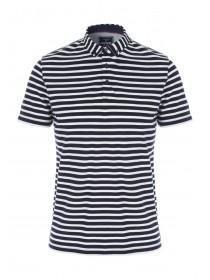 Mens Navy Stripe Polo Shirt