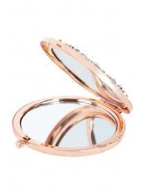 Womens Rose Gold Glitter Compact Mirror