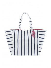 Womens Navy Stripe Flamingo Charm Bag