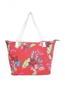 Womens Red Floral Beach Canvas Bag