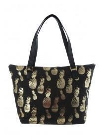 Womens Black Pineapple Beach Bag
