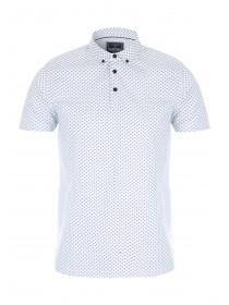 Mens White Pattern Polo Shirt