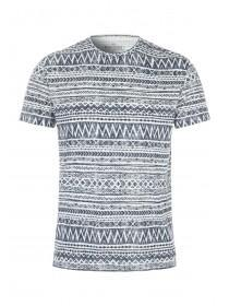 Mens White Aztec Burnout Top