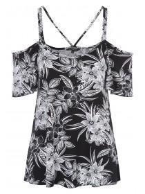 Womens Monochrome Floral Cold Shoulder Top