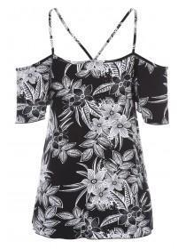 Womens Monochrome Floral Cold Shoulder Top