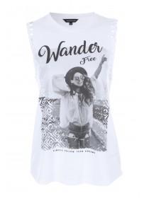 Womens White Plait Sleeve Vest Top