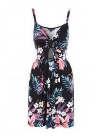 Womens Black Tropical Print Beach Dress