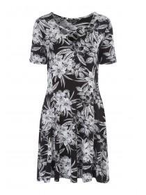 Womens Monochrome Floral Lattice Front Dress