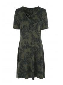 Womens Khaki Tropical Lattice Front Dress