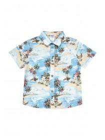 Younger Boys Aqua Hawaiian Print Shirt