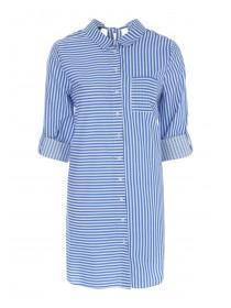 Womens Blue Mixed Stripe Shirt Dress