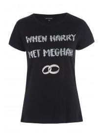 Womens Black Sequin Slogan T-Shirt