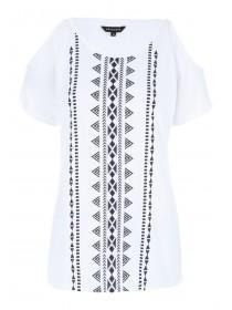 Womens White Aztec Cold Shoulder Top