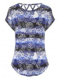 Womens Blue Floral Lattice Back Top