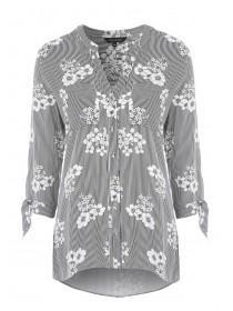 Womens Monochrome Stripe Floral Shirt
