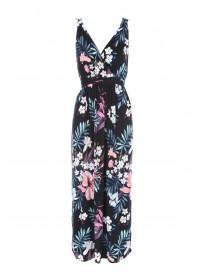 Womens Floral Black Cross Back Maxi Dress