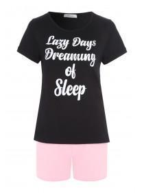 Womens Black Lazy Days Slogan Pyjama Set